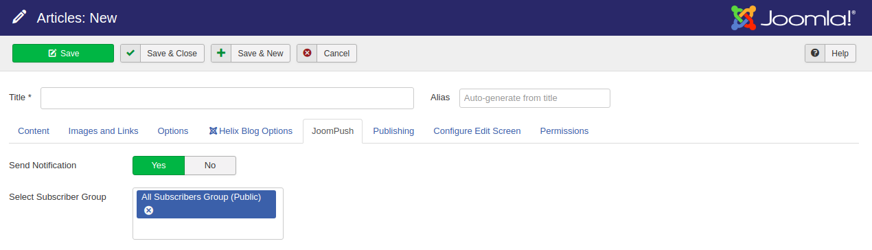 JoomPush Joomla Content Integration