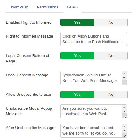 JoomPush GDPR Configuration
