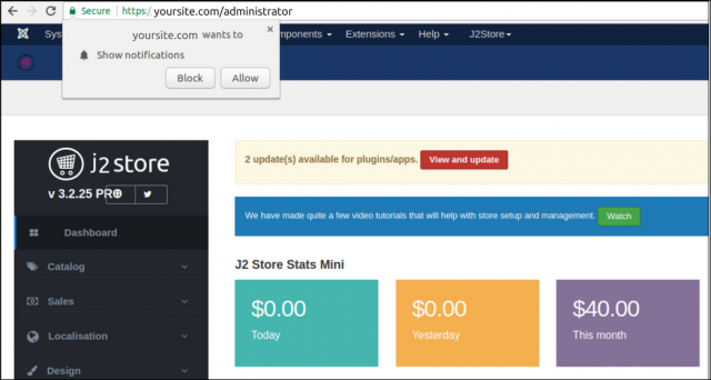JoomPush j2store integration with backend view